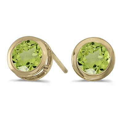 Bezel-Set Round Peridot Stud Earrings 14k Yellow Gold (1.20ctw)