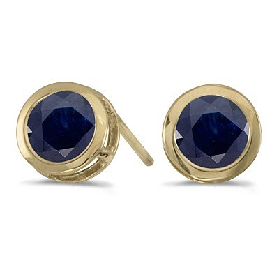 Bezel-Set Round Blue Sapphire Stud Earrings 14k Yellow Gold (1.20ctw)