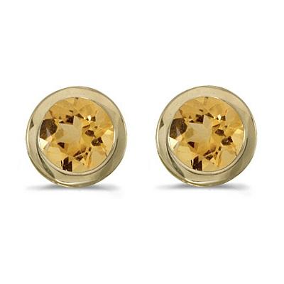 0.80ct Bezel-Set Round Citrine Stud Earrings 14k Yellow Gold