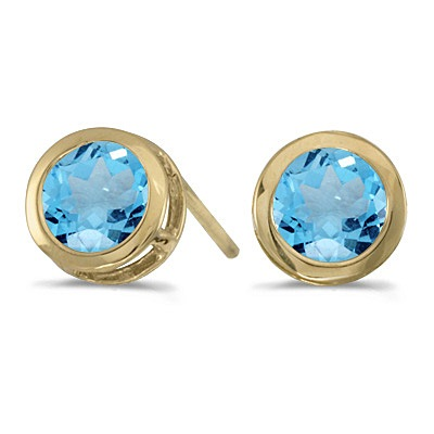 Bezel-Set Round Blue Topaz Stud Earrings 14k Yellow Gold (1.12ctw)