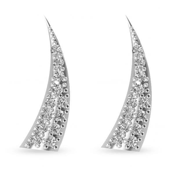 Horn Ear Cuffs with Diamond Accents 14K White Gold (0.24ct)