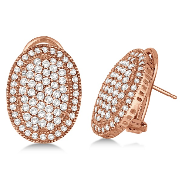 French Clip Pave-Set Diamond Oval Earrings 14k Rose Gold (2.10ct)