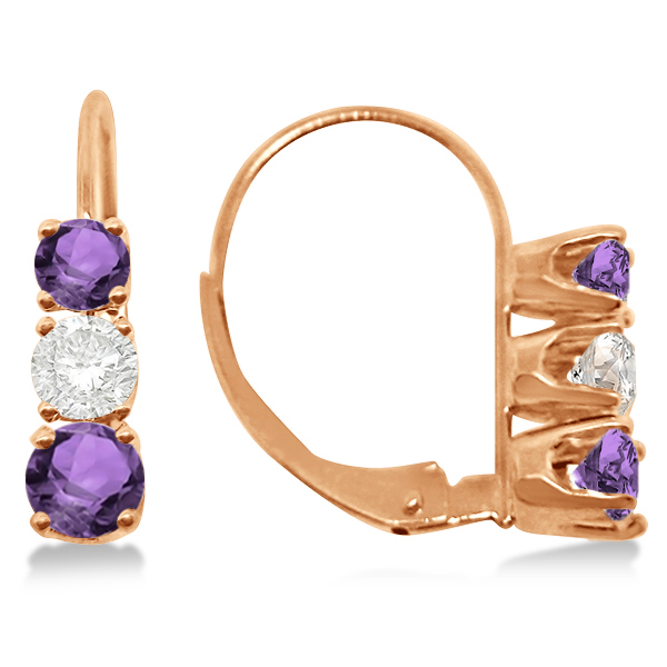 Three-Stone Leverback Diamond & Amethyst Earrings 14k Rose Gold (1.00ct)