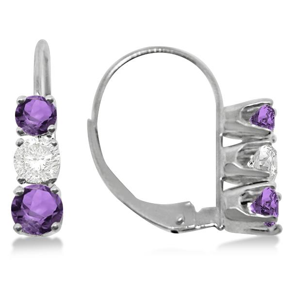 Three-Stone Leverback Diamond & Amethyst Earrings 14k White Gold (1.00ct)