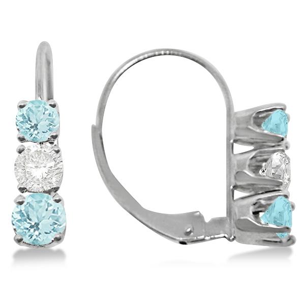 Three-Stone Leverback Diamond & Aquamarine Earrings 14k White Gold (1.00ct)