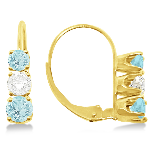 Three-Stone Leverback Diamond & Aquamarine Earrings 14k Yellow Gold (1.00ct)