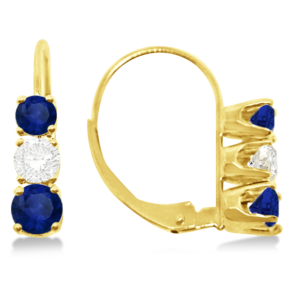 Three-Stone Leverback Diamond & Blue Sapphire Earrings 14k Yellow Gold (1.00ct)