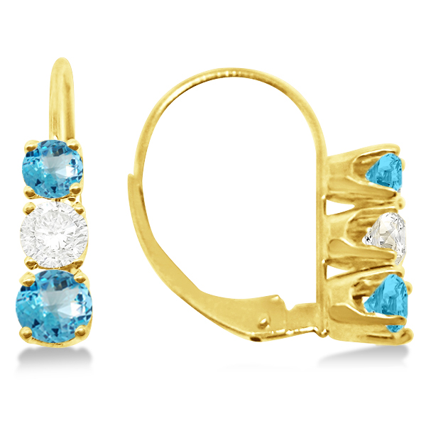 Three-Stone Leverback Diamond & Blue Topaz Earrings 14k Yellow Gold (1.00ct)