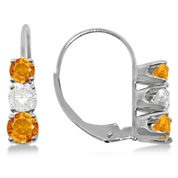Three-Stone Leverback Diamond & Citrine Earrings 14k White Gold (1.00ct)