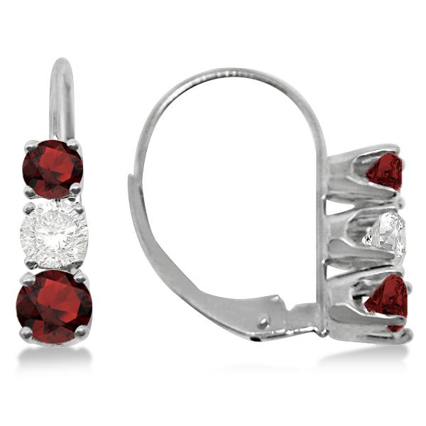 Three-Stone Leverback Diamond & Garnet Earrings 14k White Gold (1.00ct)
