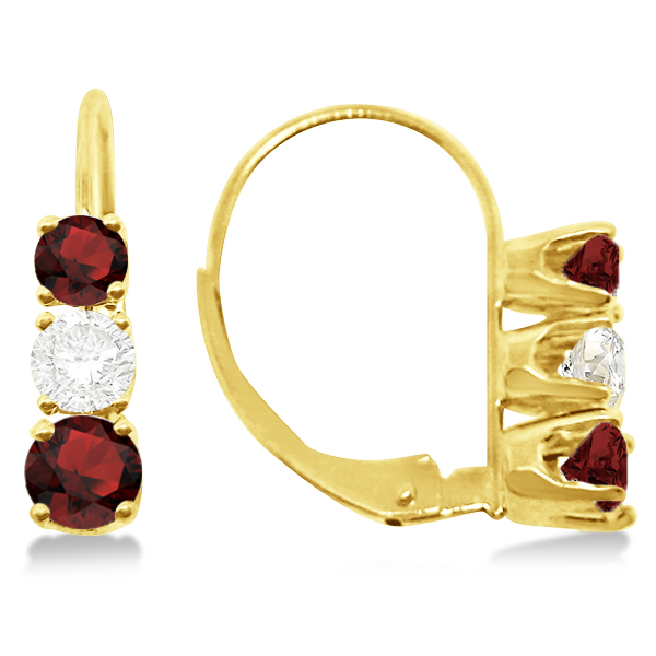 Three-Stone Leverback Diamond & Garnet Earrings 14k Yellow Gold (1.00ct)
