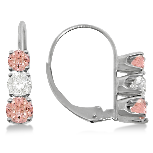 Three-Stone Leverback Diamond & Morganite Earrings 14k White Gold (1.00ct)