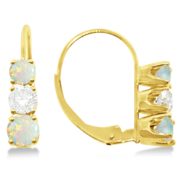 Three-Stone Leverback Diamond & Opal Earrings 14k Yellow Gold (1.00ct)