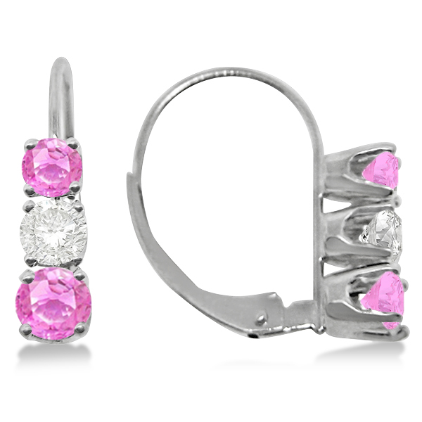 Three-Stone Leverback Diamond & Pink Sapphire Earrings 14k White Gold (1.00ct)