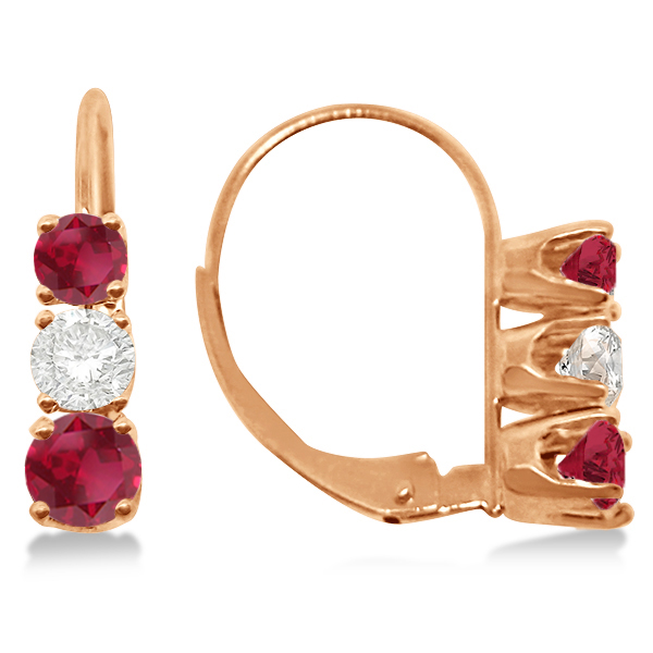 Three-Stone Leverback Diamond & Ruby Earrings 14k Rose Gold (1.00ct)