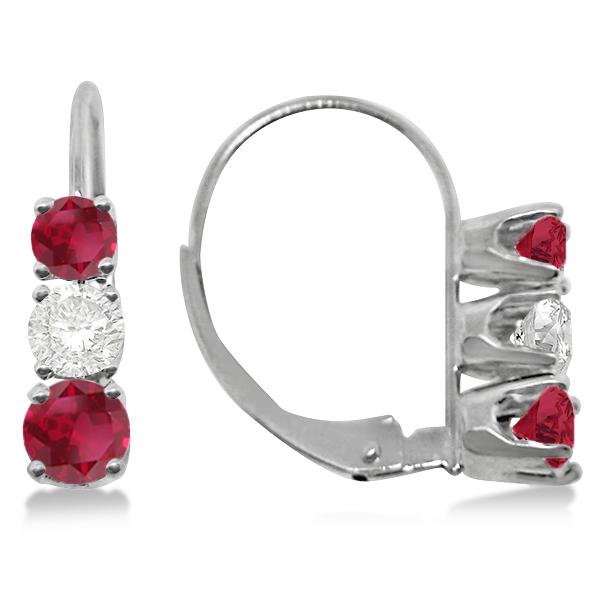 Three-Stone Leverback Diamond & Ruby Earrings 14k White Gold (1.00ct)