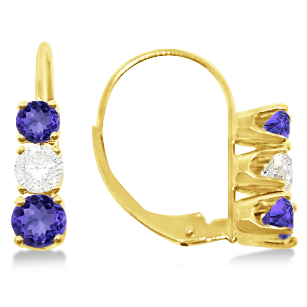Three-Stone Leverback Diamond & Tanzanite Earrings 14k Yellow Gold (1.00ct)