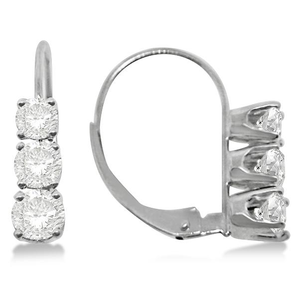 Three-Stone Leverback Diamond Earrings 14k White Gold (2.00ct)