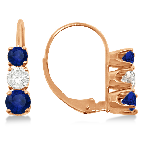 Three-Stone Leverback Diamond & Blue Sapphire Earrings 14k Rose Gold (2.00ct)