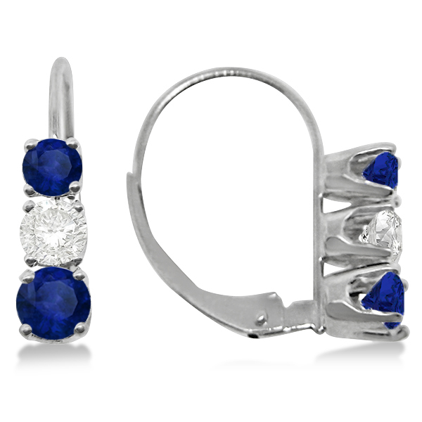 Three-Stone Leverback Diamond & Blue Sapphire Earrings 14k White Gold (2.00ct)