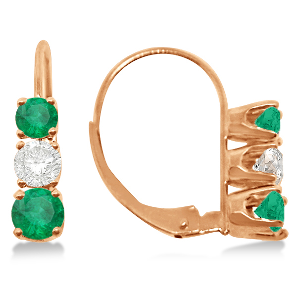 Three-Stone Leverback Diamond & Emerald Earrings 14k Rose Gold (2.00ct)