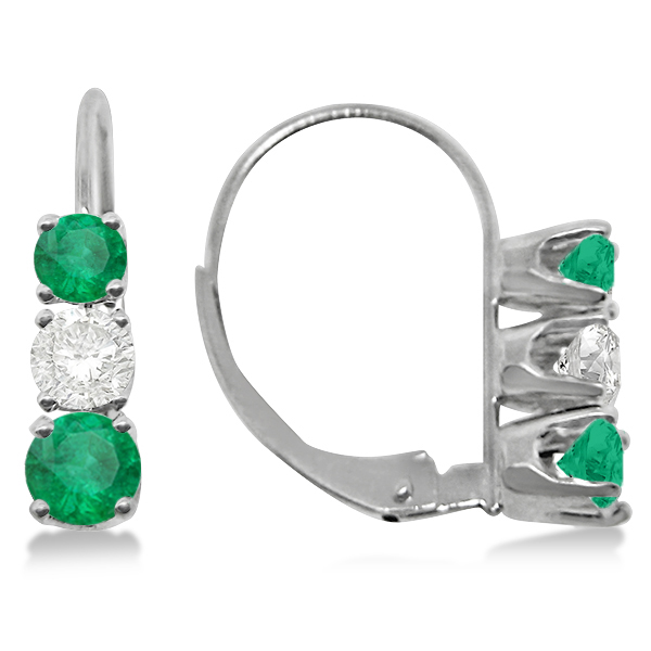 Three-Stone Leverback Diamond & Emerald Earrings 14k White Gold (2.00ct)