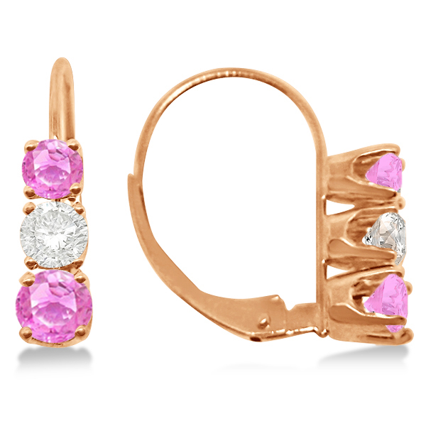 Three-Stone Leverback Diamond & Pink Sapphire Earrings 14k Rose Gold (2.00ct)