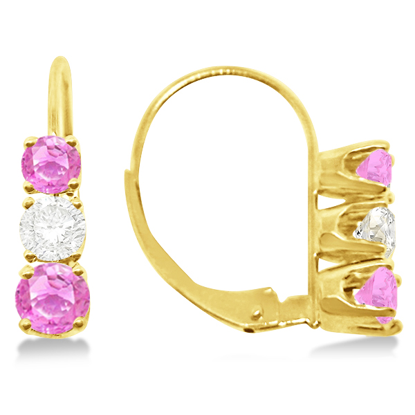 Three-Stone Leverback Diamond & Pink Sapphire Earrings 14k Yellow Gold (2.00ct)