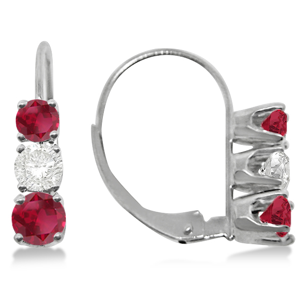 Three-Stone Leverback Diamond & Ruby Earrings 14k White Gold (2.00ct)