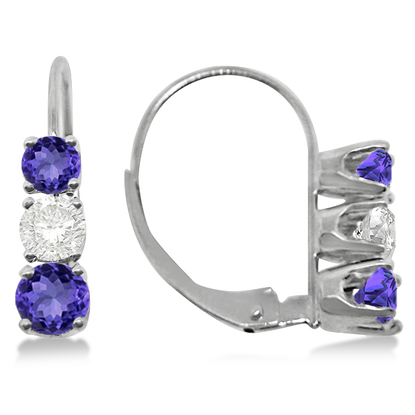 Three-Stone Leverback Diamond & Tanzanite Earrings 14k White Gold (2.00ct)
