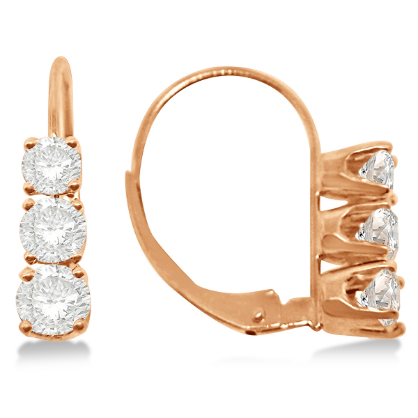 Three-Stone Leverback Diamond Earrings 14k Rose Gold (3.00ct)
