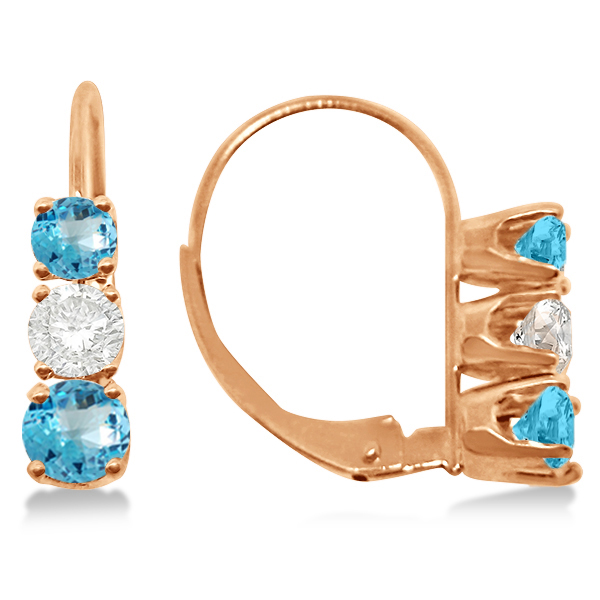Three-Stone Leverback Diamond & Blue Topaz Earrings 14k Rose Gold (3.00ct)