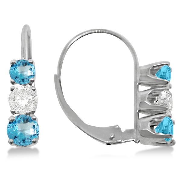 Three-Stone Leverback Diamond & Blue Topaz Earrings 14k White Gold (3.00ct)