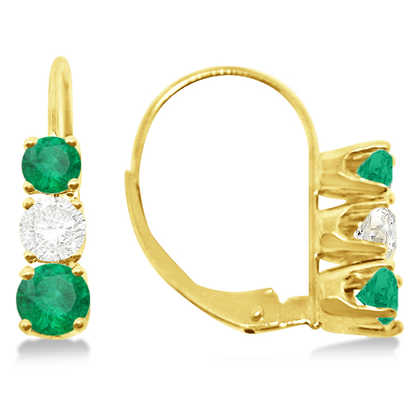 Three-Stone Leverback Diamond & Emerald Earrings 14k Yellow Gold (3.00ct)