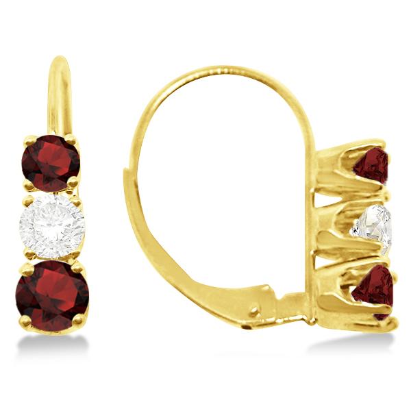 Three-Stone Leverback Diamond & Garnet Earrings 14k Yellow Gold (3.00ct)