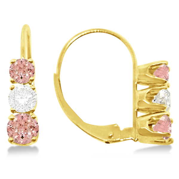 Three-Stone Leverback Diamond & Morganite Earrings 14k Yellow Gold (3.00ct)