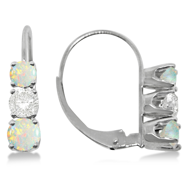 Three-Stone Leverback Diamond & Opal Earrings 14k White Gold (3.00ct)