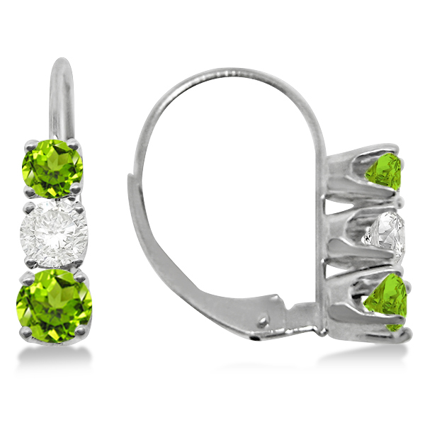 Three-Stone Leverback Diamond & Peridot Earrings 14k White Gold (3.00ct)