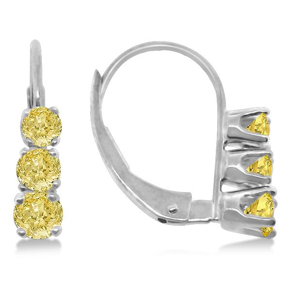 Three-Stone Leverback Yellow Diamond Earrings 14k White Gold (0.50ct)