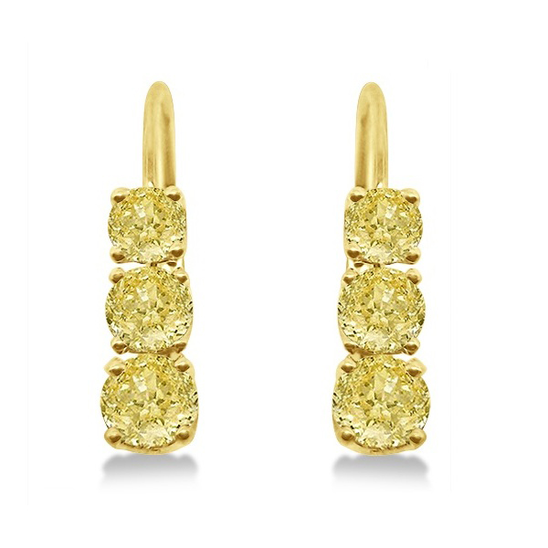 Three-Stone Leverback Yellow Diamond Earrings 14k Yellow Gold (1.00ct)