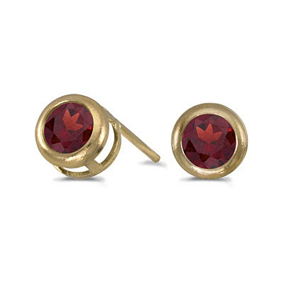 Bezel-Set Round Garnet Stud Earrings 14k Yellow Gold (0.60ctw)