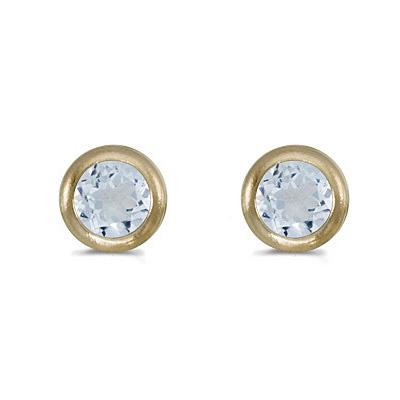 Bezel-Set Round Aquamarine Stud Earrings 14k Yellow Gold (0.46ctw)