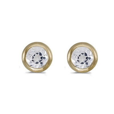Bezel-Set Round White Topaz Stud Earrings 14k Yellow Gold (0.60ct)