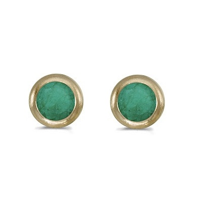 Bezel-Set Round Emerald Stud Earrings 14k Yellow Gold (0.50ctw)