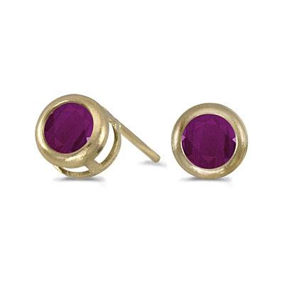 Bezel-Set Round Ruby Stud Earrings 14k Yellow Gold (0.66ctw)