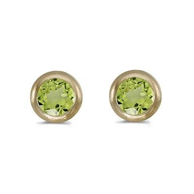 Bezel-Set Round Peridot Stud Earrings 14k Yellow Gold (0.60ctw)