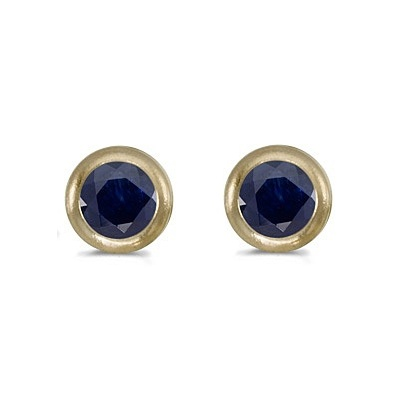 Bezel-Set Round Blue Sapphire Stud Earrings 14k Yellow Gold (0.60ctw)