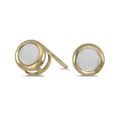 Bezel-Set Round Opal Stud Earrings 14k Yellow Gold (0.60ctw)