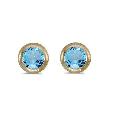 Bezel-Set Round Blue Topaz Stud Earrings 14k Yellow Gold (0.60ctw)