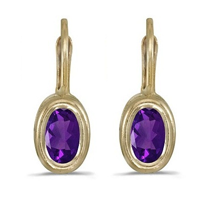 Bezel-Set Oval Amethyst Lever-Back Earrings 14k Yellow Gold